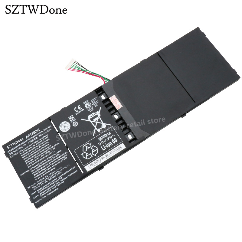 SZTWDone new Laptop Battery AP13B3K for Acer Aspire V5 R7 V5-572G V5-573G V5-472G V5-473G V5-552G M5-583P V5-572P R7-571 AP13B8K quying laptop lcd screen for acer aspire f5 572 r7 572 f5 571 e5 574g e5 571 e1 572 series 15 6 inch 1920x1080 30pin