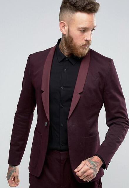 Latest Coat Pant Designs Burgundy Casual Shawl Lapel Custom Wedding Suits For Men Slim Fit 2