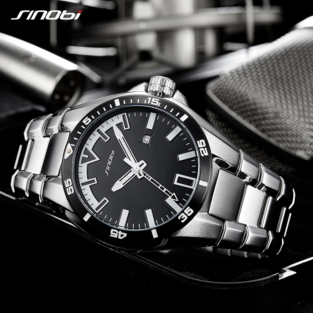 92470ac4610 SINOBI Men S Shock Business Watch Full Steel Male Fashoin Military Wrist Watches  Men Luminous Hands