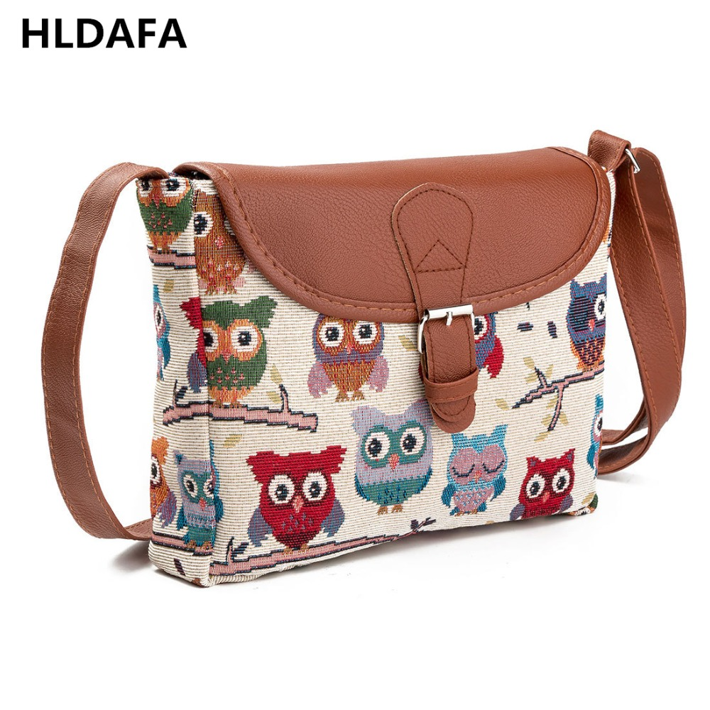 2017 Women Messenger Bags Canvas Owl Animal Printed Crossbody Shoulder Bag Small Ladies Handbags Flap Bag For Girls High Quality сумочка с совами