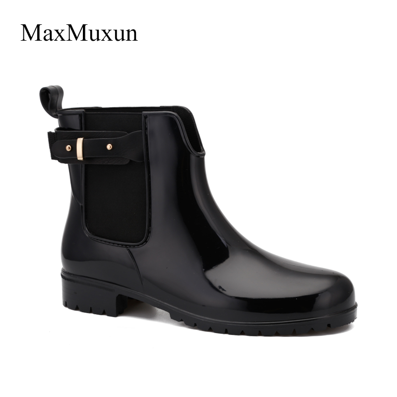 MaxMuxun Rain boots Women Metal Buckle Motorcycle Rain Boots Rubber Ankle Boots For Women Waterproof Sewing Flat Chelsea Boots