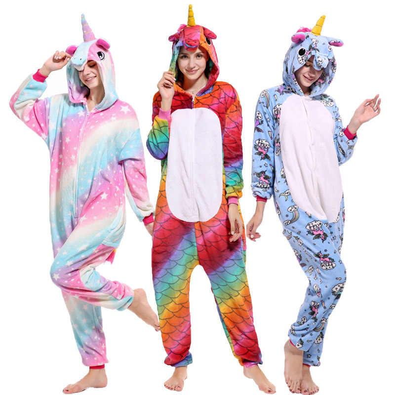 Новый стиль для взрослых пижамный комплект Зимний фланелевый милый  мультфильм Pegasus Единорог Панда косплей с капюшоном a54c7ca4f0119