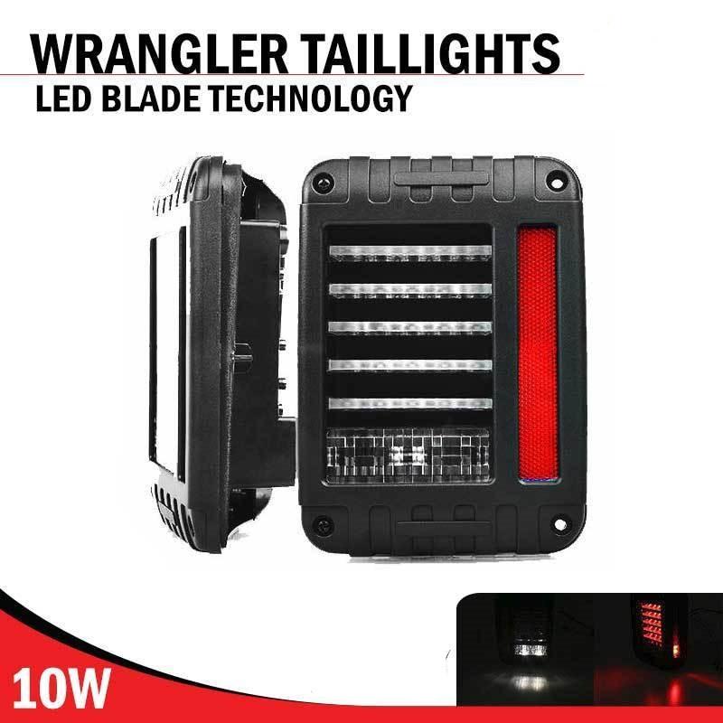 For 07 16 Jeep Wrangler LED Tail Lights Rear Brake Reverse Lamps 480LM For Jeep Wrangler