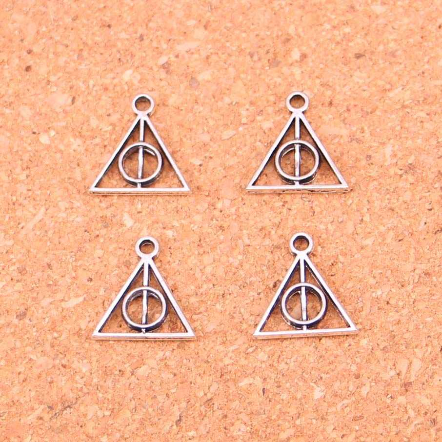 250Pcs Antique Silver Plated deathly hallows Charms Diy Handmade Jewelry Findings Accessories 13*12mm