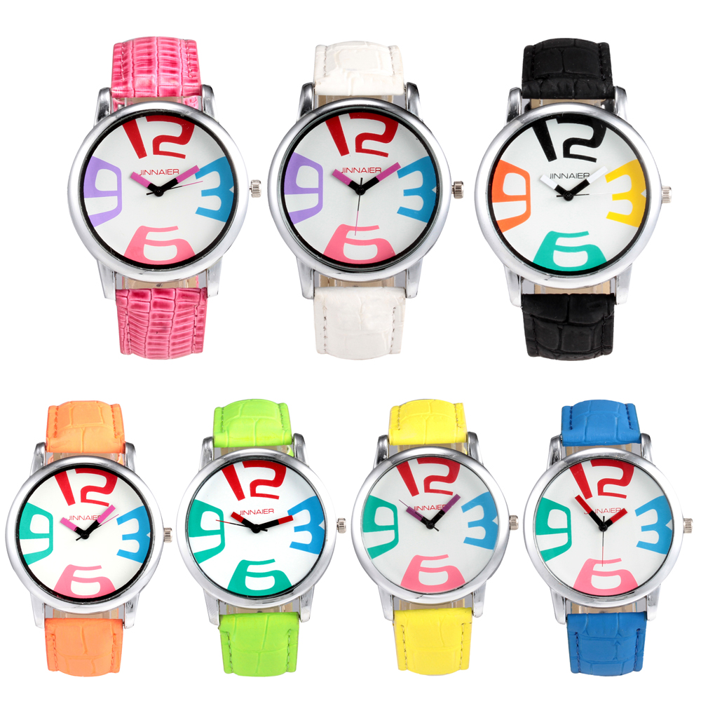 Color chart rainbow - Relogio Masculino Ladies Watches Leather Strap Male Fashion Business Casual Brand Couple Quartz Watches Rainbow Color