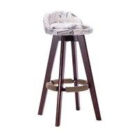 Wood Chair Barstool European Bar Chair Stool Rotary Backrest Stool Bar Stool