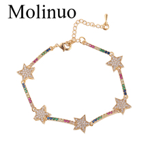 Molinuo rainbow cz bar star link chain bracelet 16+5cm adjusted fashion charm classic jewelry for women girl gift 2019