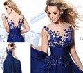 2017 nueva llegada V-cuello de La Gasa del Azul Real Baile Vestidos Largos Robe De Soirée