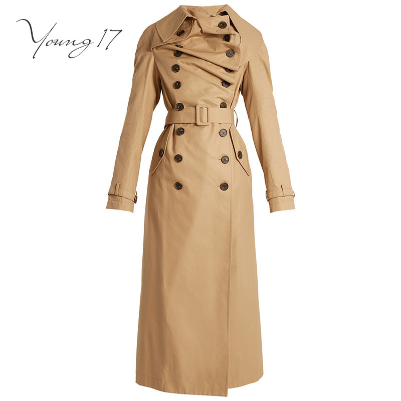 Young17 Spring Office Lday Khaki Slim Long   Trench   Coat For Women Pocket Split Ruffles Belt Double-Breasted Maxi Windbreaker Coat