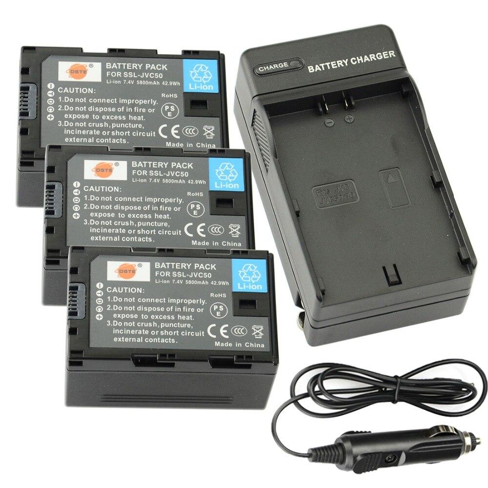 DSTE 3 pièces batterie de SSL-JVC50 + chargeur de voyage et de voiture pour caméra JVC HM600/650 GY LS300