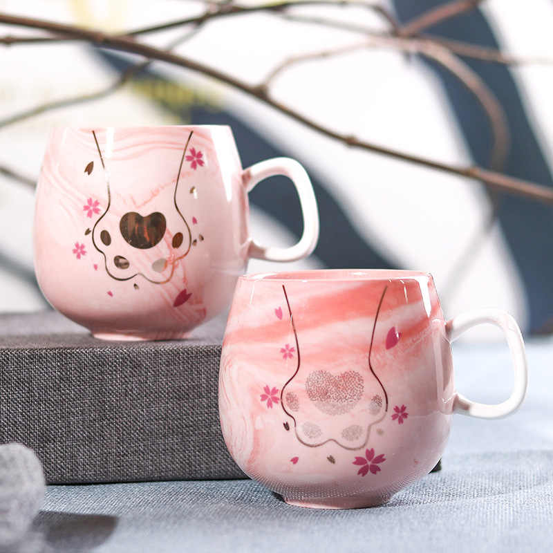 Flamingo แก้วกาแฟแก้วเซรามิคถ้วยแมวน่ารักเท้า Ins 72*85 มม.350 ml H1215