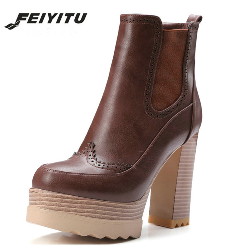 feiyitu  2018 Women Ankle Boots Square High Heel Synthetic Leather Round Toe Platform Women Motorcycle Ankle Boots Size 34-42feiyitu  2018 Women Ankle Boots Square High Heel Synthetic Leather Round Toe Platform Women Motorcycle Ankle Boots Size 34-42
