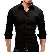 2018 Brand Fashion Male Shirt Long Sleeves Tops Slim Casual Solid Color Mens Dress Shirts Slim