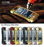 מקרה עמיד למים חיים יוקרה iphone 5 5S SE 4 4S 6 6 s בתוספת עמיד הלם שריון מקרי כיסוי מתכת אלומיניום עם מזג זכוכית