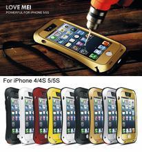 Роскошные жизнь водонепроницаемый чехол для iPhone 5 5S se 4 4S 6 6S плюс противоударный Броня случаях металлическая крышка Алюминий с закаленным стекло