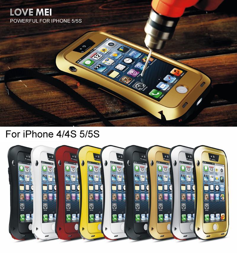imágenes para Vida de lujo Funda Impermeable Para el iphone 5 SE 4 4S 5S 6 6 s Plus Casos Armadura A Prueba de Golpes Cubierta del Metal de Aluminio Con Vidrio Templado vidrio