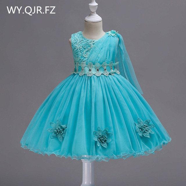 BH150L#Bow Lace Short Green red Flower Girl Dresses Children's performance dress wedding party dress gown prom wholesale clothes