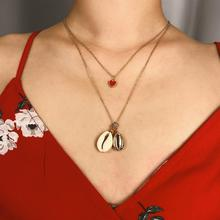 Shell Clavicle Pendant Necklaces Drop Oil Heart Multi-layered Necklace Bohemia Simple fashion Imitation