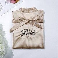 Свадебное платье для невесты с вышивкой цвета шампанского, атласное женское кимоно, банный халат, сексуальное ночное белье, нарядное платье...