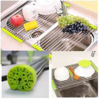 New 3 Colors 4 Sizes Foldable Kitchen Sink Rack Stainless Steel Dish Cutlery Drainer Drying Holder