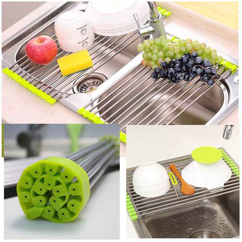 b and q kitchen sink tap sets multifunctional folding font drain rack stainless cutlery top faucet