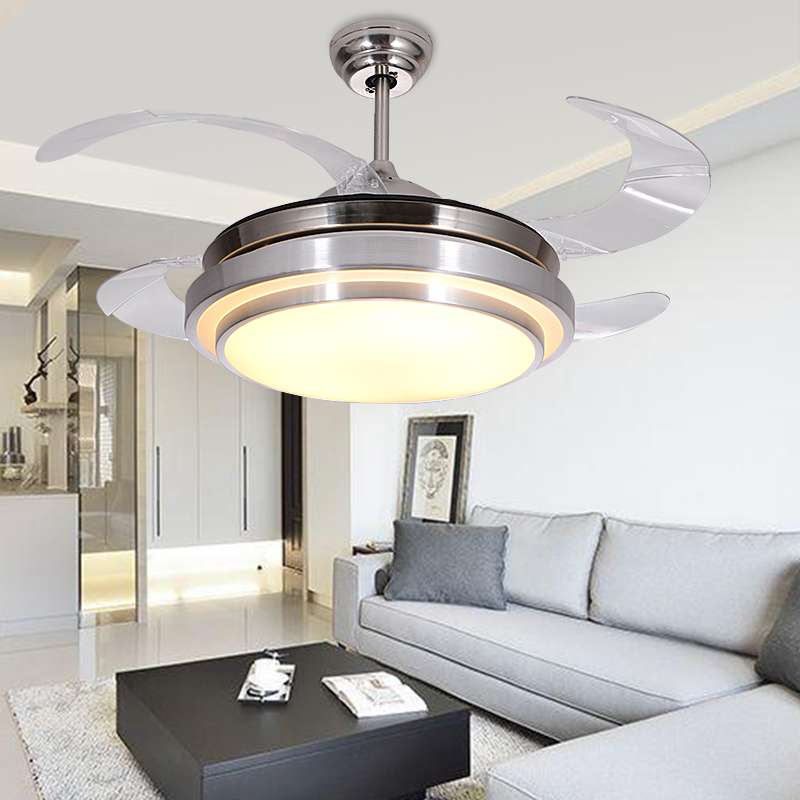 LED Hidden Invisible Stainless Steel Acryl Ceiling Fan LED