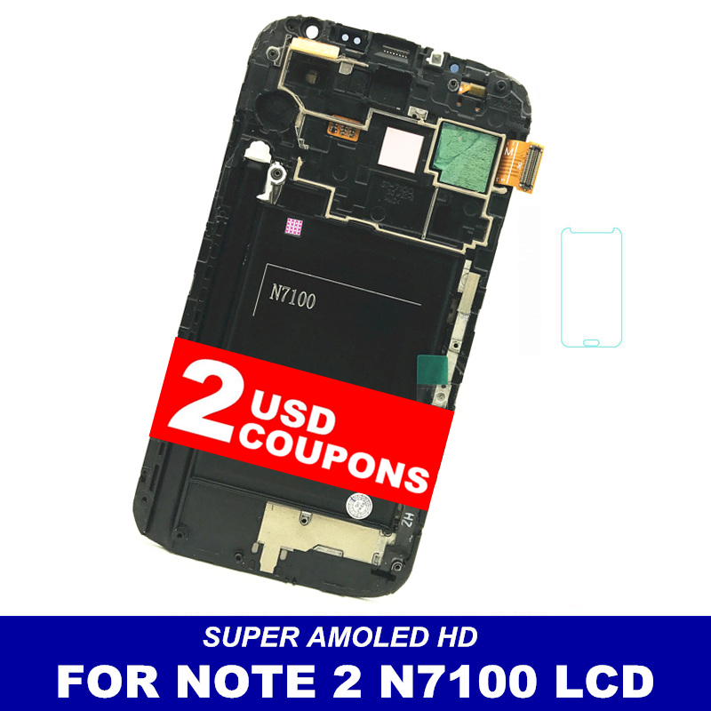 Super AMOLED HD Phone LCDS For Samsung Galaxy Note 2 Note2 N7100 LCD Touch Digitizer Screen Assembly Frame Display Free GlassSuper AMOLED HD Phone LCDS For Samsung Galaxy Note 2 Note2 N7100 LCD Touch Digitizer Screen Assembly Frame Display Free Glass