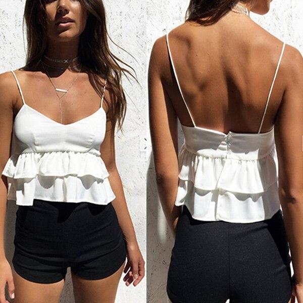 Sexy Women Layered Ruffles Spaghetti Strap Tank Tops Vest V Neck Backless Short Crop Top Vests FS99