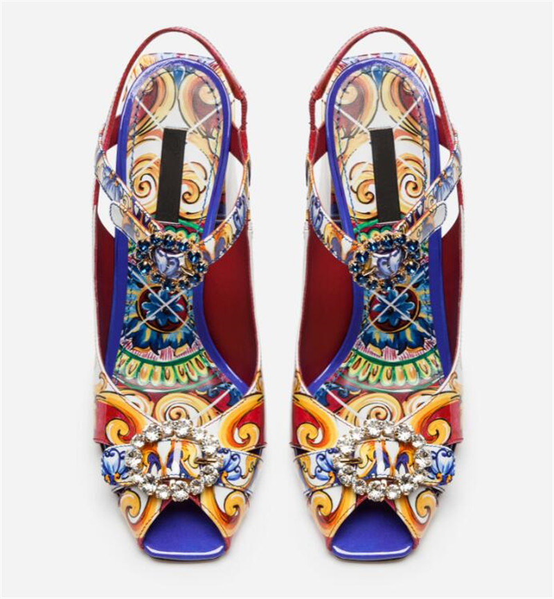 Graffiti Sandales chaussures femme Peep Toe décor bijoux étroite cheville boucle Sandales Chic coloré Chunky talons carrés Sandales femmes - 2