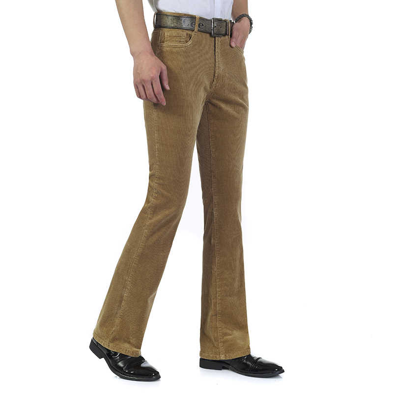 5eab6599e3f ... Free Shipping Men s Autumn Corduroy Boot Cut Pants Male Mid Waist  Business casual Candy Color flares ...