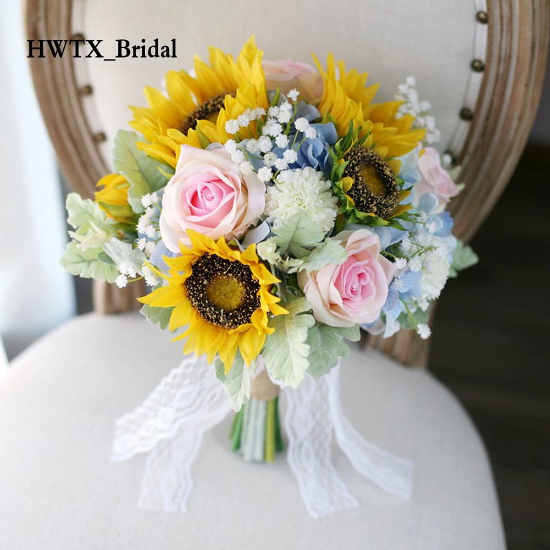 2018 Yellow Blue Wedding Bouquet Sunflower Rose Hydrangea Artificial Bridal Hand Holding Wedding Decoration Artificial Flowers