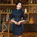 2016 Special Offer Chinese Dress Qipao A New Spring Plaid Sleeve, Collar Cheongsam Retro Fashion Wholesale In Old Shanghai