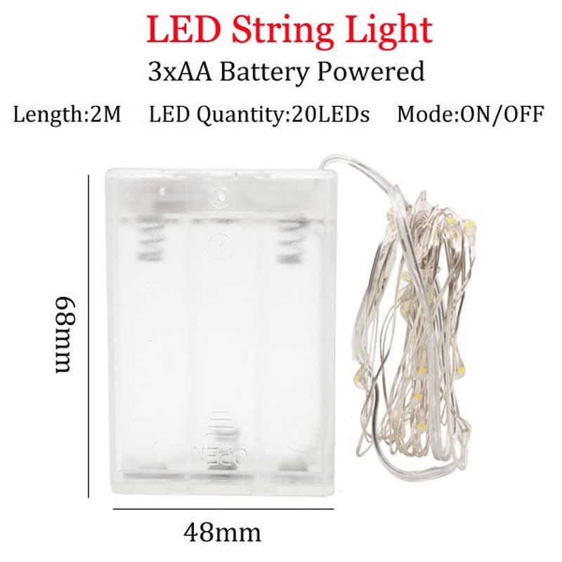 Luz led de cadena de alambre de cobre de 2 m con tapón de botella para botella de vidrio, lámpara de decoración de boda de hadas fiesta