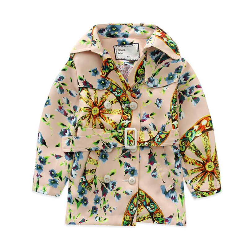 Children s trench coat autumn winter 2016 new baby boy girls clothes children flower print coat