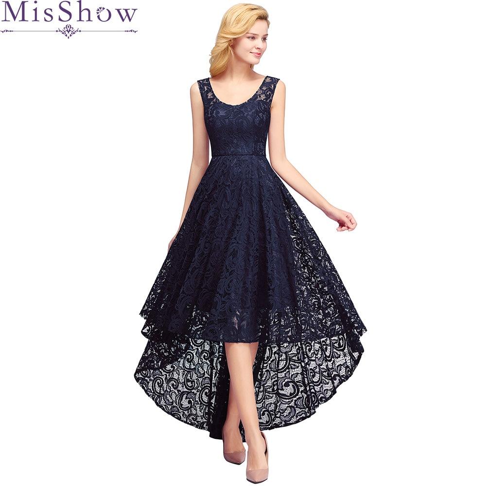 2019 Navy Blue Short Front Long Back Lace   Cocktail     Dresses   Lace Party   Dress   Prom Gown Homecoming   Dress   Vestidos De Coctel