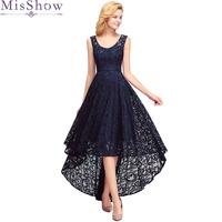 2019 Navy Blue Short Front Long Back Lace Cocktail Dresses Lace Party Dress Prom Gown Homecoming Dress Vestidos De Coctel
