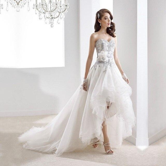 vestidos de novia high low wedding gowns 2017 short front long back