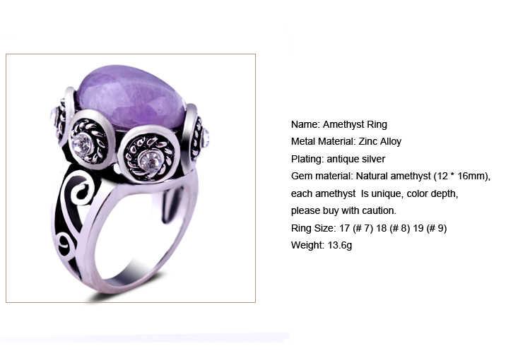 ธรรมชาติ Amethyst แหวนเงินโบราณรูปไข่สีม่วงควอตซ์การตั้งค่าดอกไม้คริสตัลวินเทจผู้ชายแหวน
