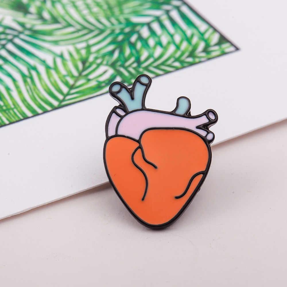 Gigi Jantung Mata Otak Organ Bros Kartun Enamel Pin Bros Wanita Pria Perhiasan Aksesoris Untuk Pakaian Syal Lencana