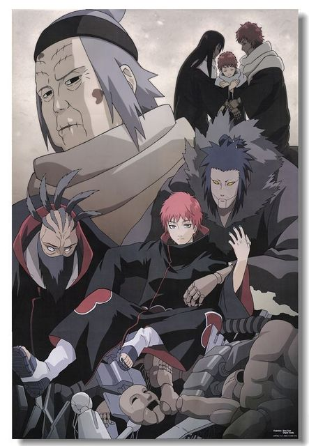 Cartoon Naruto Akatsuki Posters Photographic Paper Poster Custom Canvas Wallpaper Fashion Naruto Anime Wall Sticker