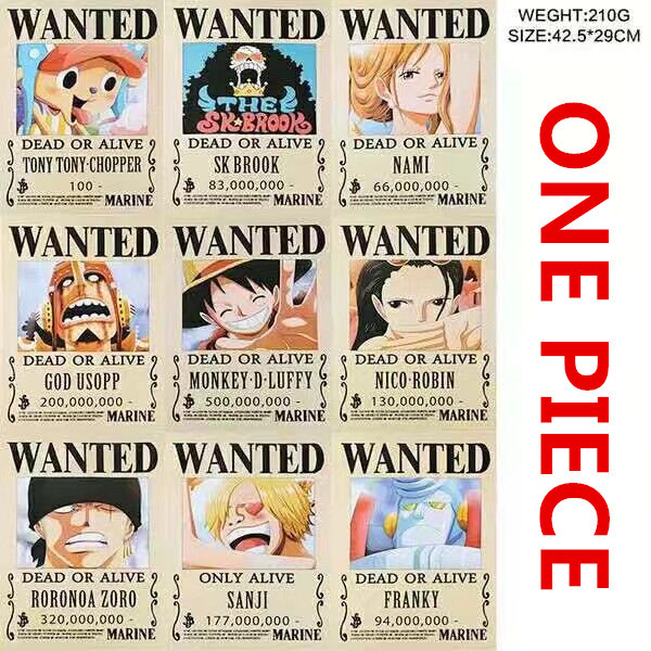 10 PCS/LOT ONE PIECE Wanted Posters