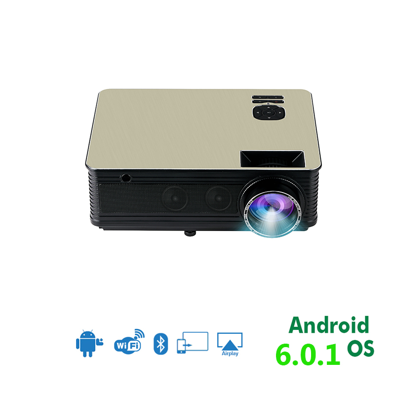 1080 P Hd Projector, 5500 Lumen, Android 6.0 Wifi Bluetooth Optioneel, Perfect Home Theater Led Tv Video Projector Beamer