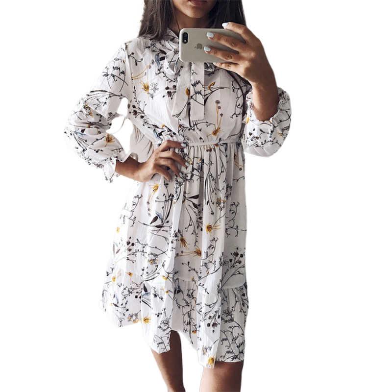 高弾性ウエストのドレスの女性ヴィンテージ秋冬ドレスシフォンミディカジュアル花長袖オフィスポルカ女性 Vestidos