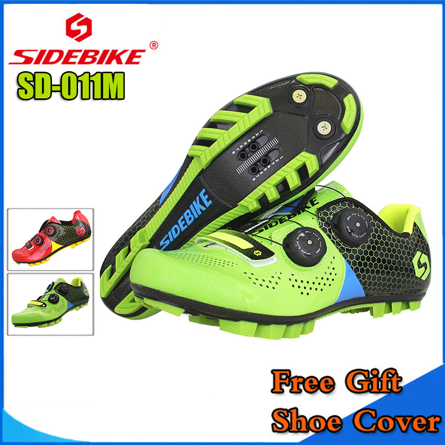 SIDEBIKE Mountain MTB Cycling Shoes Bike Ultra light carbon fiber Sole Auto-lock Bicycle Sport Shoes Zapatillas Ciclismo GREEN new asiacom full carbon fiber cycling bicycle crank mtb road bike crankset length 170mm ultra light mountain bicycle parts