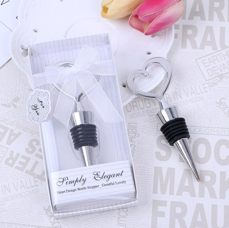 Wholesale Zinc Alloy Heart Shaped Wine Stopper Wedding Favors And