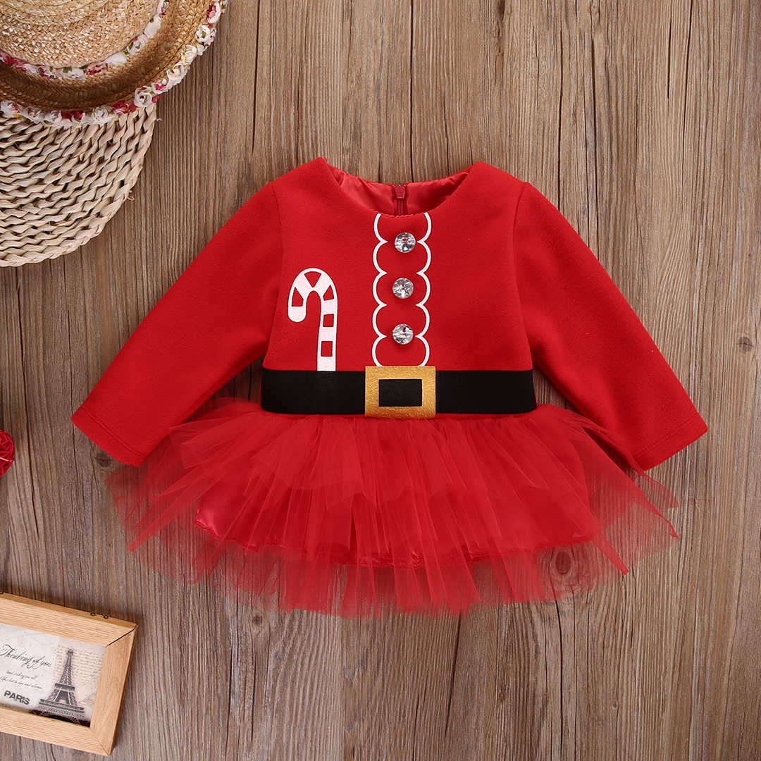 b3cfea93d418 ... Red Kids Baby Girl Long Sleeve Christmas Dress Santa Claus Tulle Ball Gown  Dresses Xmas Outfits ...