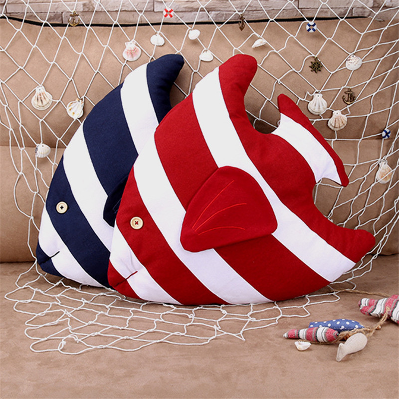 New Style Sailor Fish Decorative Cushion 3D Throw Pillow With Inner Home Decor Sofa Car Bed Emulational Toys As Kids Gift
