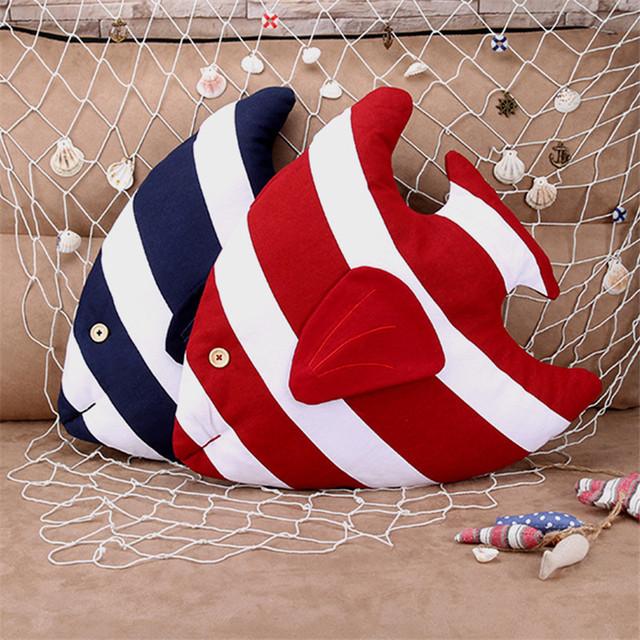 Estilo marinero pez decorativo cojín almohada interior para decorar el hogar sofá cama de coche juguetes de niños