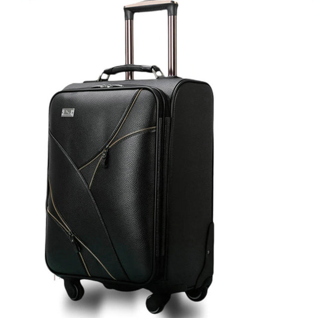 "Women Travel Suitcase Vintage Luggage&Men PU Leather Travel Bag Universal Wheels Trolley Luggage 18"" 20"" 22"" 24"" Rolling Luggage"