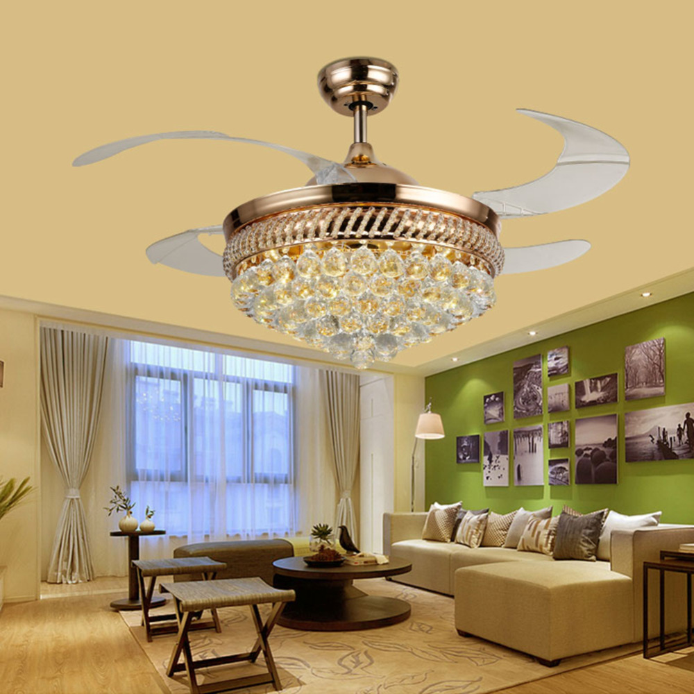 Luxury Ceiling Fan Us 348 42 Inch Ceiling Fans Promoting Natural Ventilation Invisible Fans Luxury Crystal Dimmable Chandelier Controlled By The Remote In Ceiling